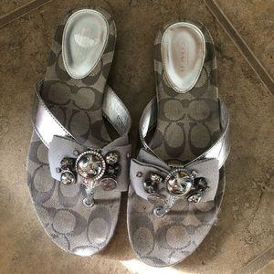 Coach Shoes - Coach silver sandals